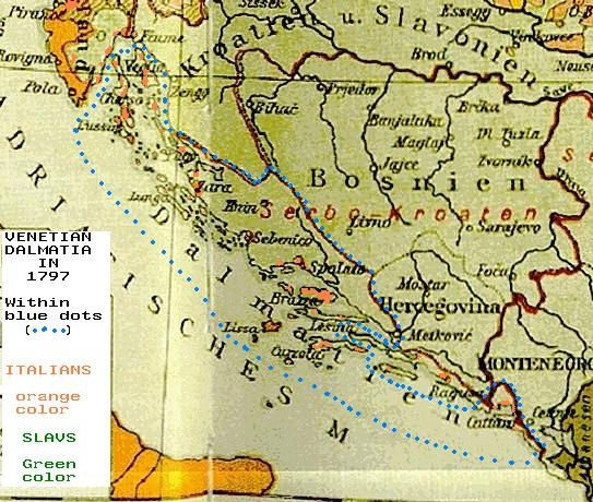 Map Of Venetian Dalmatia In With Painted References To The - Us population map 1797