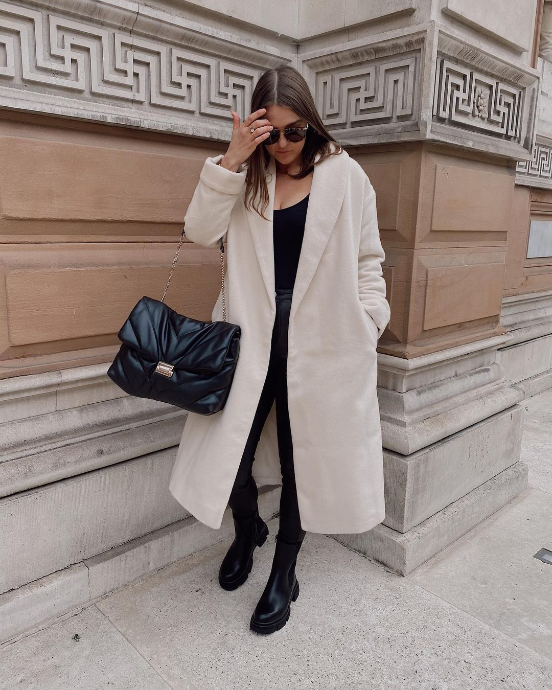 Isabella Neutral Style Inspo On Instagram Chunky Boots Leather Trousers A Long Coat My Fa Winter Outfit Accessories Cute Winter Outfits Fashion Inspo
