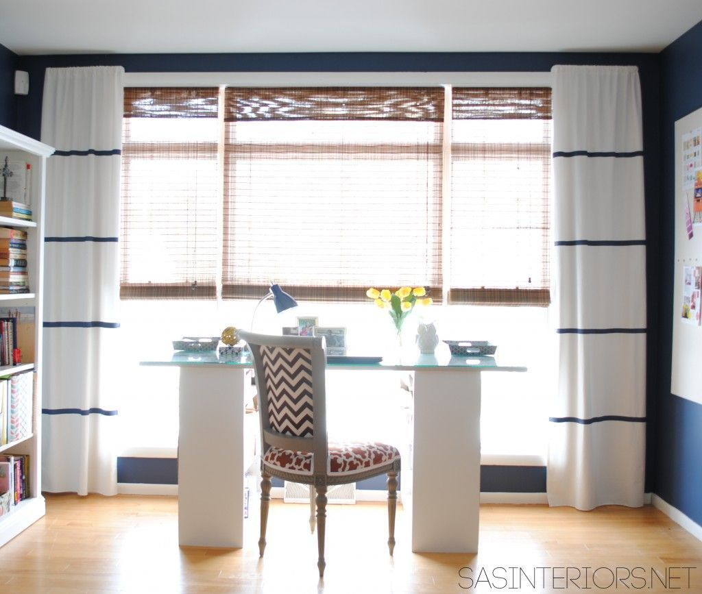 DIY HowTo Hem (no sew) and Add Stripes to Curtains Using