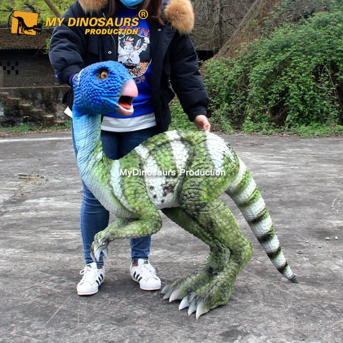 This colorful dinosaur puppet is customized per our