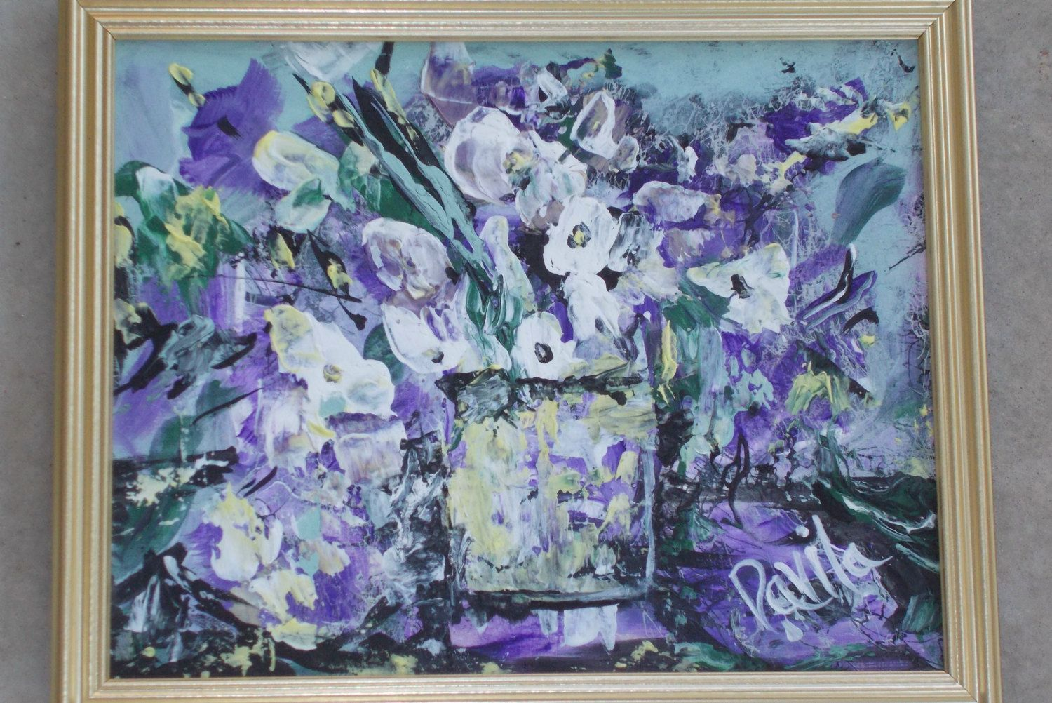 Original Purple Floral acrylic abstract painting hand painted by ...