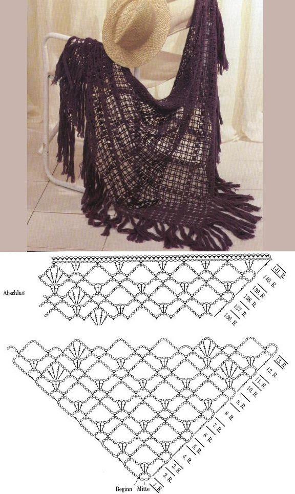 Crochet shawl w/chart | chal | Pinterest | Chal, Negro y Ganchillo