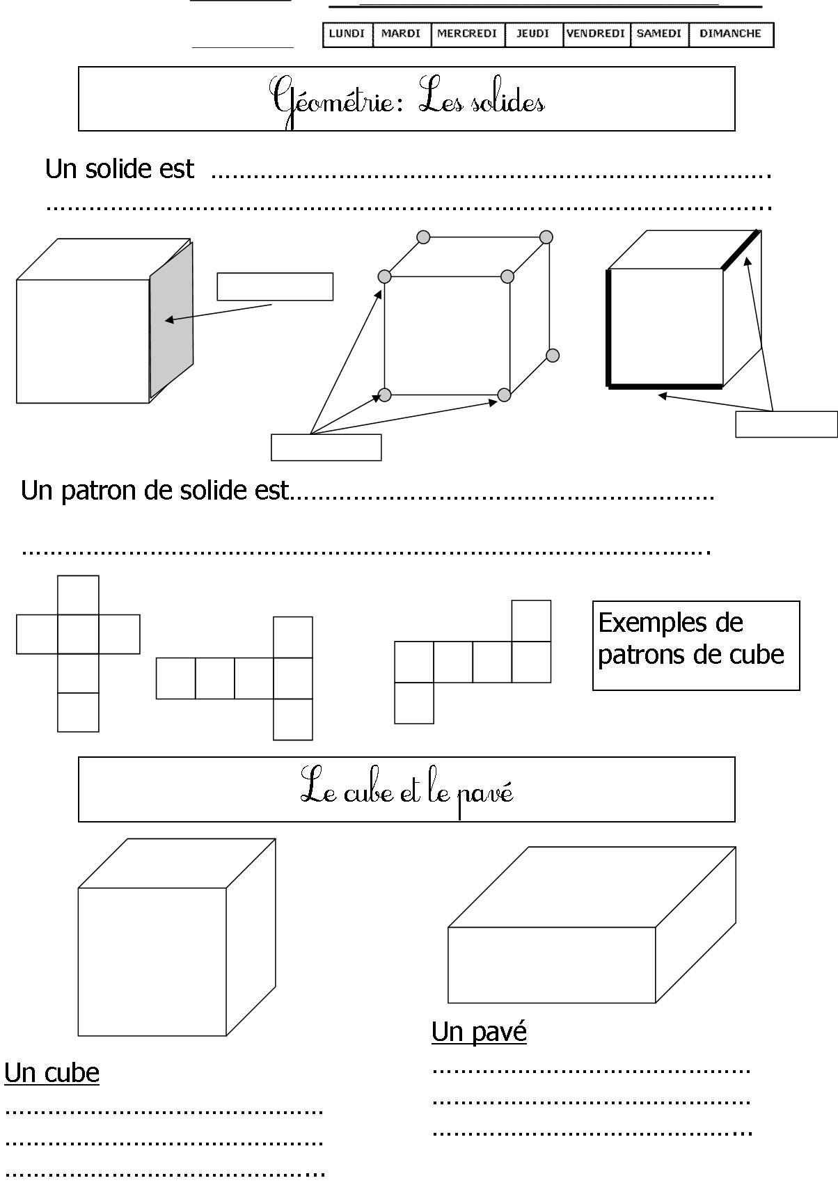 solide 1 (avec images)   Les solides, Géométrie ce1, Maths ce2