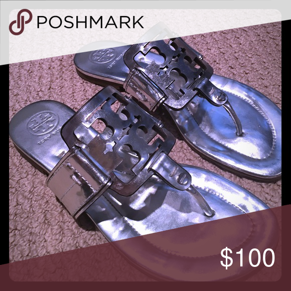 Silver Tory Burch Sandals Silver barely worn 6.5 Size Tory Burch Sandals Tory Burch Shoes Sandals