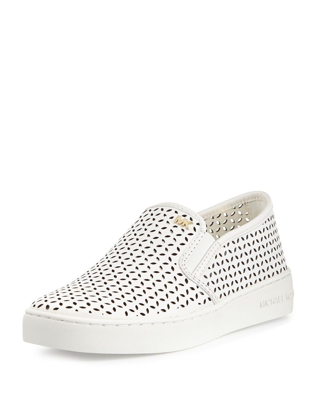 23600986 Olivia Perforated Slip-On Sneaker, Optic White, Size: 39.0B/9.0B - MICHAEL  Michael Kors