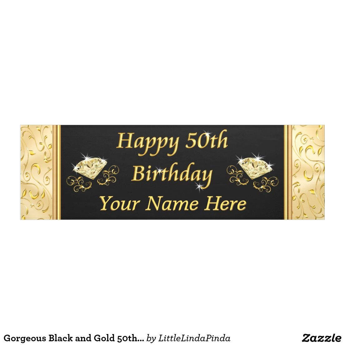 personalized gorgeous black and gold 50th birthday banner for her