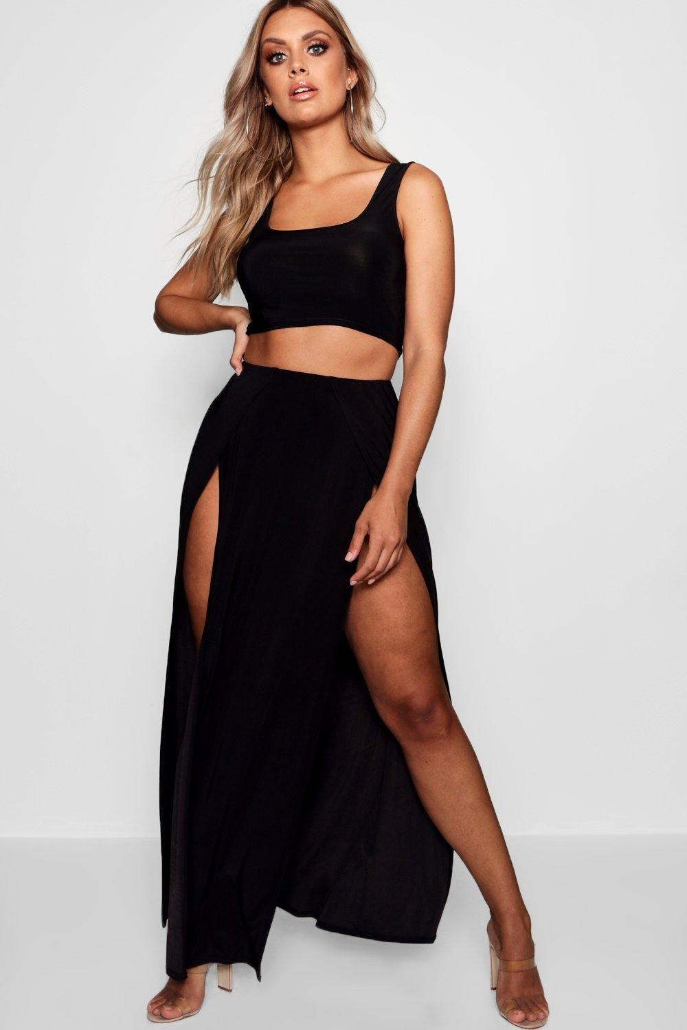 8fd3ff9affd7 Click here to find out about the Plus Slinky Double Slit Maxi Skirt from  Boohoo, part of our latest Plus Size & Curve Clothing collection ready to  shop ...