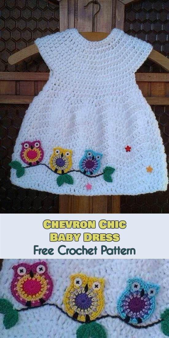 Chevron Chic Baby Dress - Free Crochet Patterna | Häkeln baby ...