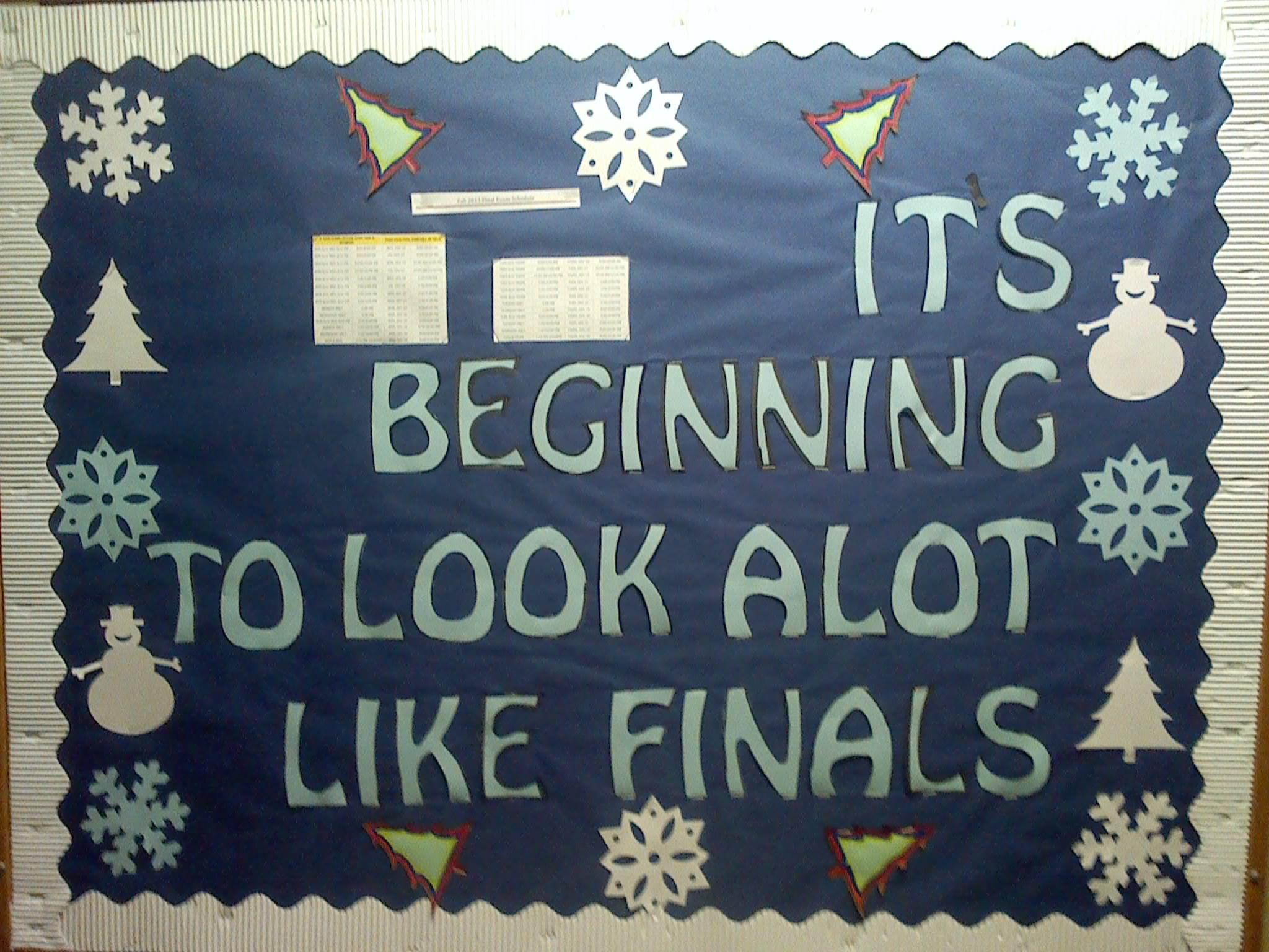 Winter bulletin boards ideas pinterest - Ra Bulletin Board It S Beginning To Look Alot Like Finals Creative Way Post The