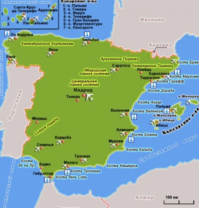 Karta Ispanii S Kurortami Ispaniya Kurorty