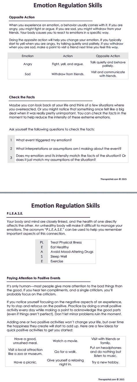DBT Emotion Regulation Skills (Worksheet | Pinterest