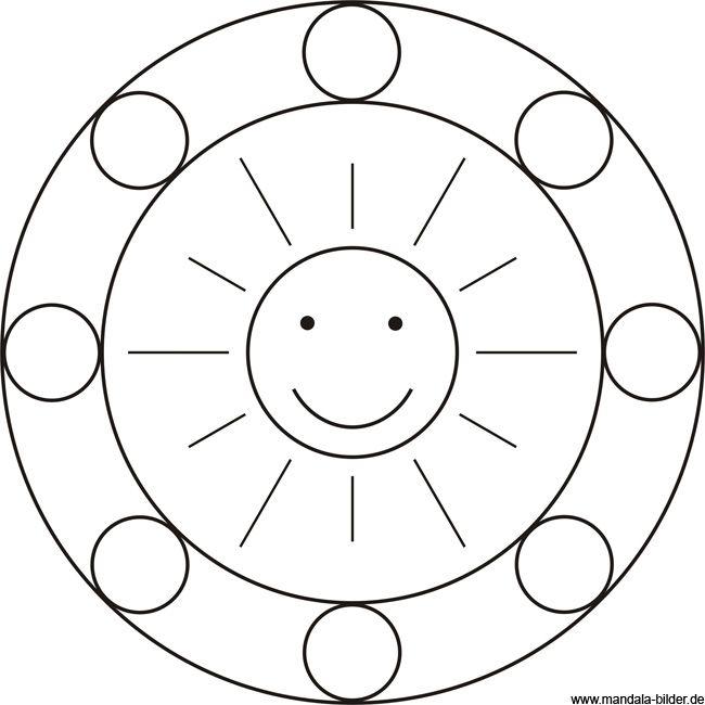 Mandala Sonne Einfaches Mandala Mandalas Kinder Mandala Ausmalen