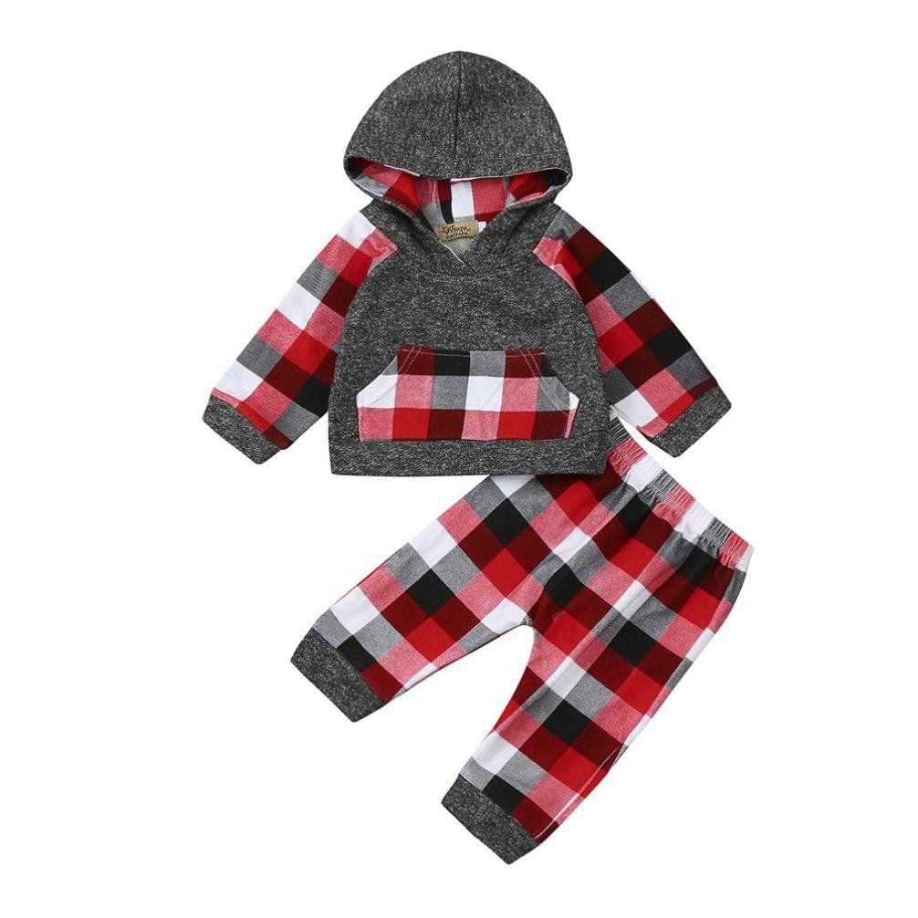 d90f0dbd6 Peanutcool 2pcs Toddler Baby Boy Girl Clothes Set Plaid Hoodie Tops+ ...