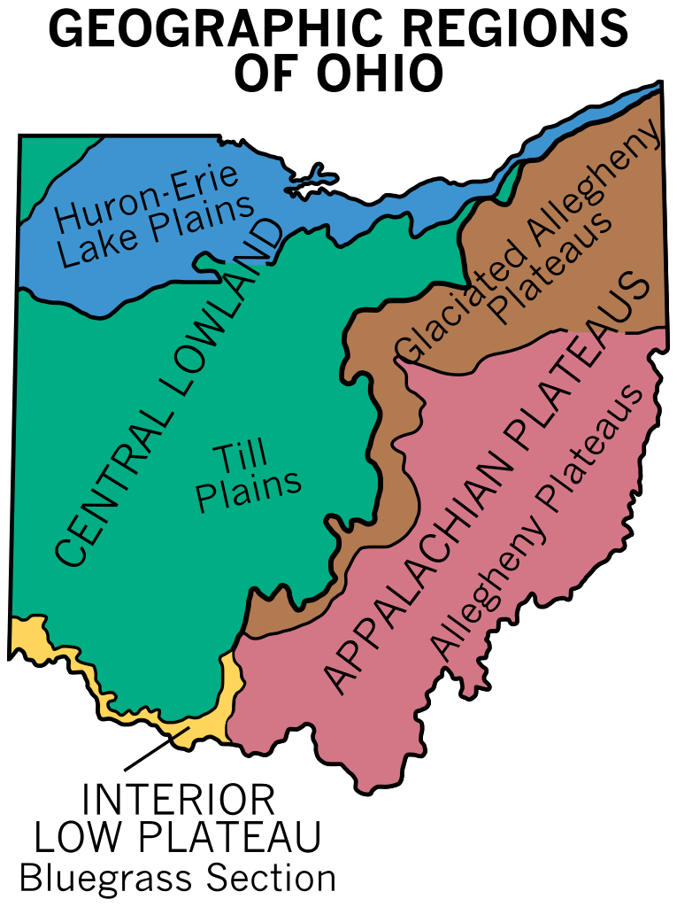 Geography Map Of Ohio.Geographic Regions Of Ohio In 2019 Maps Geography History
