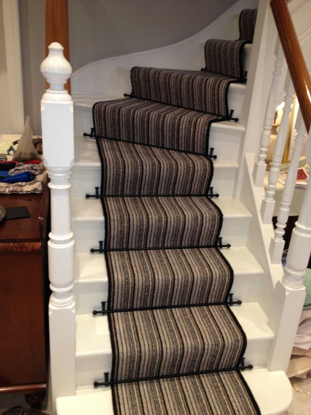 Genial Minimalist Striped Runners For Stairs With Nice Dark Bronze Carpet Runner  Stair Rod Ideas