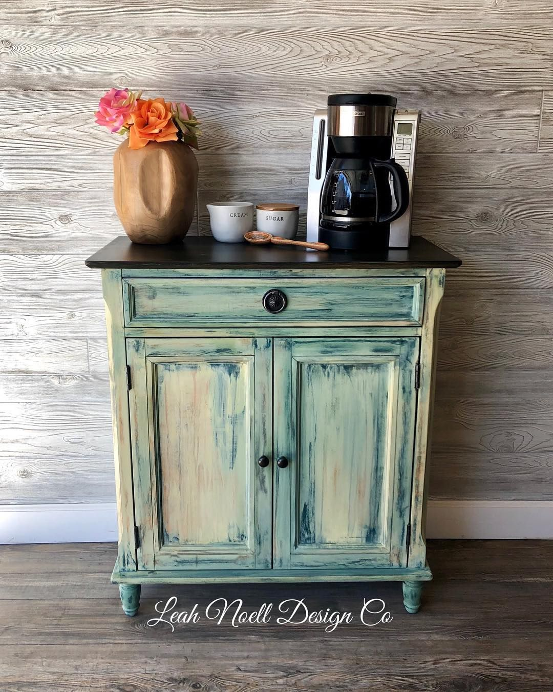 Isn't this custom coffee bar adorable? It's so fun when a client wants some COLOR!! I used Debi's design diary paints in Honey bee, bohemian blue, and Sumer crush for the win!! #debisdesigndiary #dothedionne #colormovement #ispruceditup #bohemain