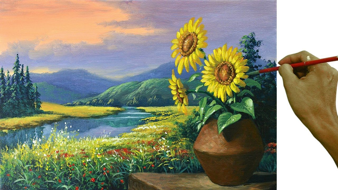 Acrylic Landscape Painting Tutorial Sunflowers On Vase Step By Step Painting For Beginner In 2020 Landscape Paintings Painting Tutorial Landscape Paintings Acrylic