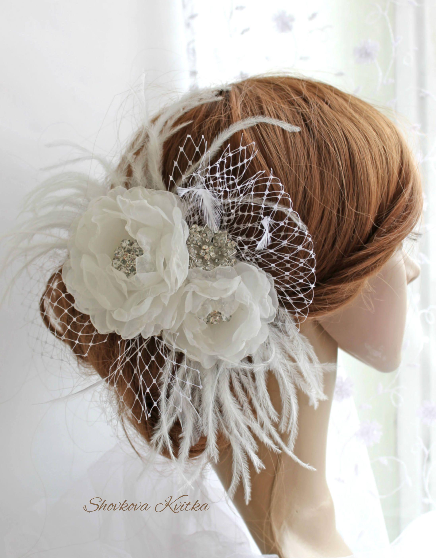 Wedding feather fascinator birdcage veil, White Bridal