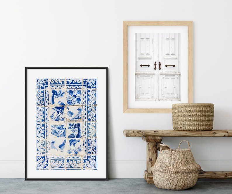 Portuguese Tiles Blue And White Art Travel Photography Etsy Blue Art Prints Frame Wall Decor Blue Art
