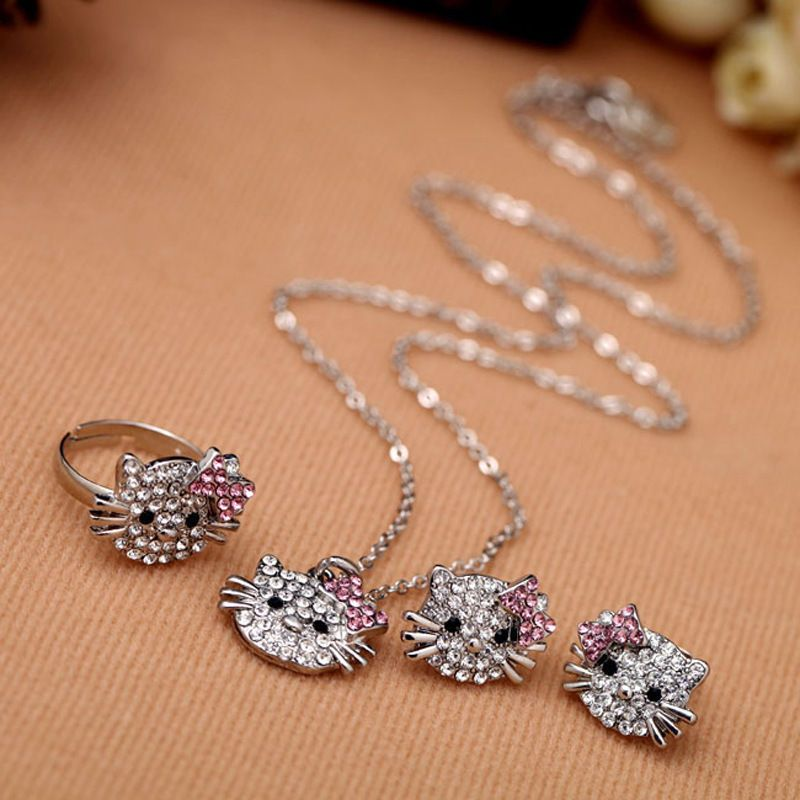 Clear Rhinestone Lovely Cat Ear Stud Earring Necklace Ring Shiny ...