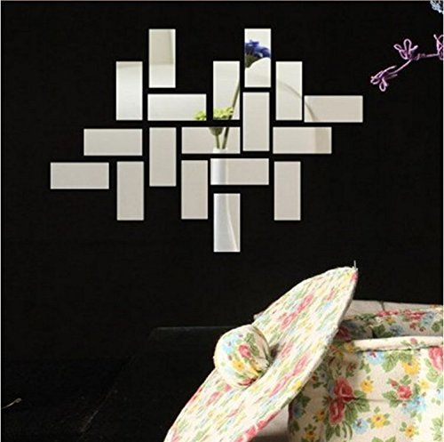 Coavas Sliver Color Square 3d Diy Mirror Wall Sticker Home Decor For Living Room