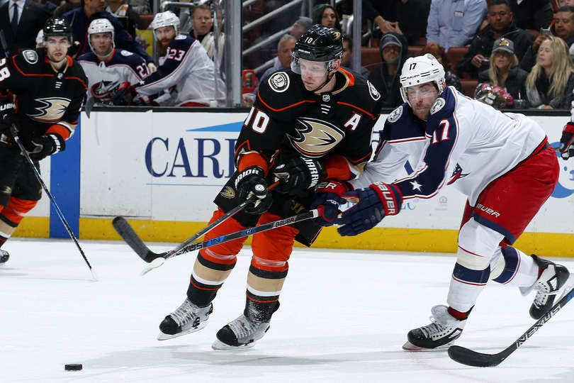 8f24ccd71 Corey Perry  10 of the Anaheim Ducks battles for the puck against Brandon  Dubinsky  17 of the Columbus Blue Jackets during the game on March 2