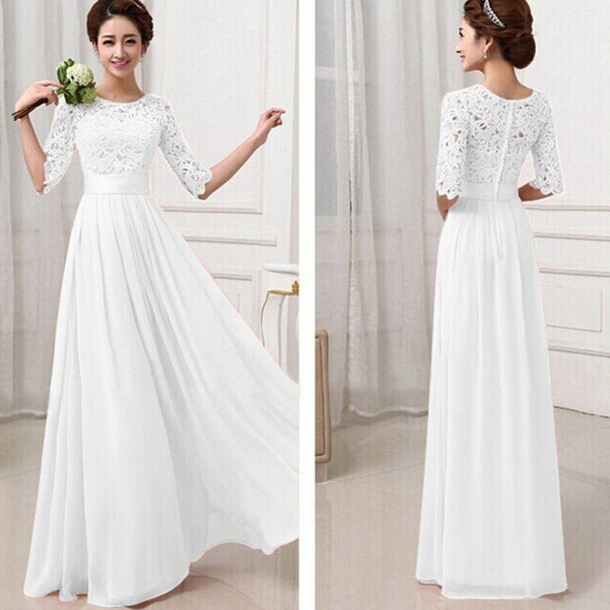 Lace Chiffon Patchwork High Waist Half Sleeves Long Party ...