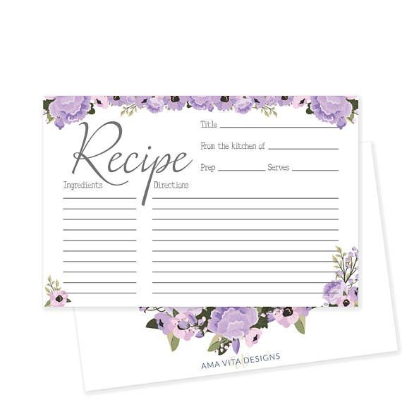 rustic bridal shower recipe card printable recipe card floral