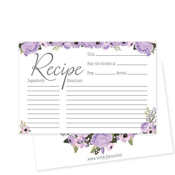 Rustic Bridal Shower Recipe Card Printable Recipe Card Floral - recipe card