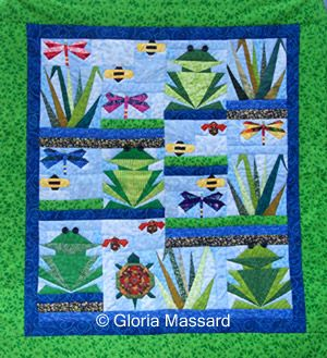 Over by the Pond: I made this frog quilt a few summers ago. The pattern is called Over by the Pond. It finishes at 38 x 42. I made it for my mother-in-law, a few summers
