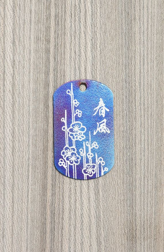 Titanium pendant with engraved chinese characters by KaeiStore, ¥4000