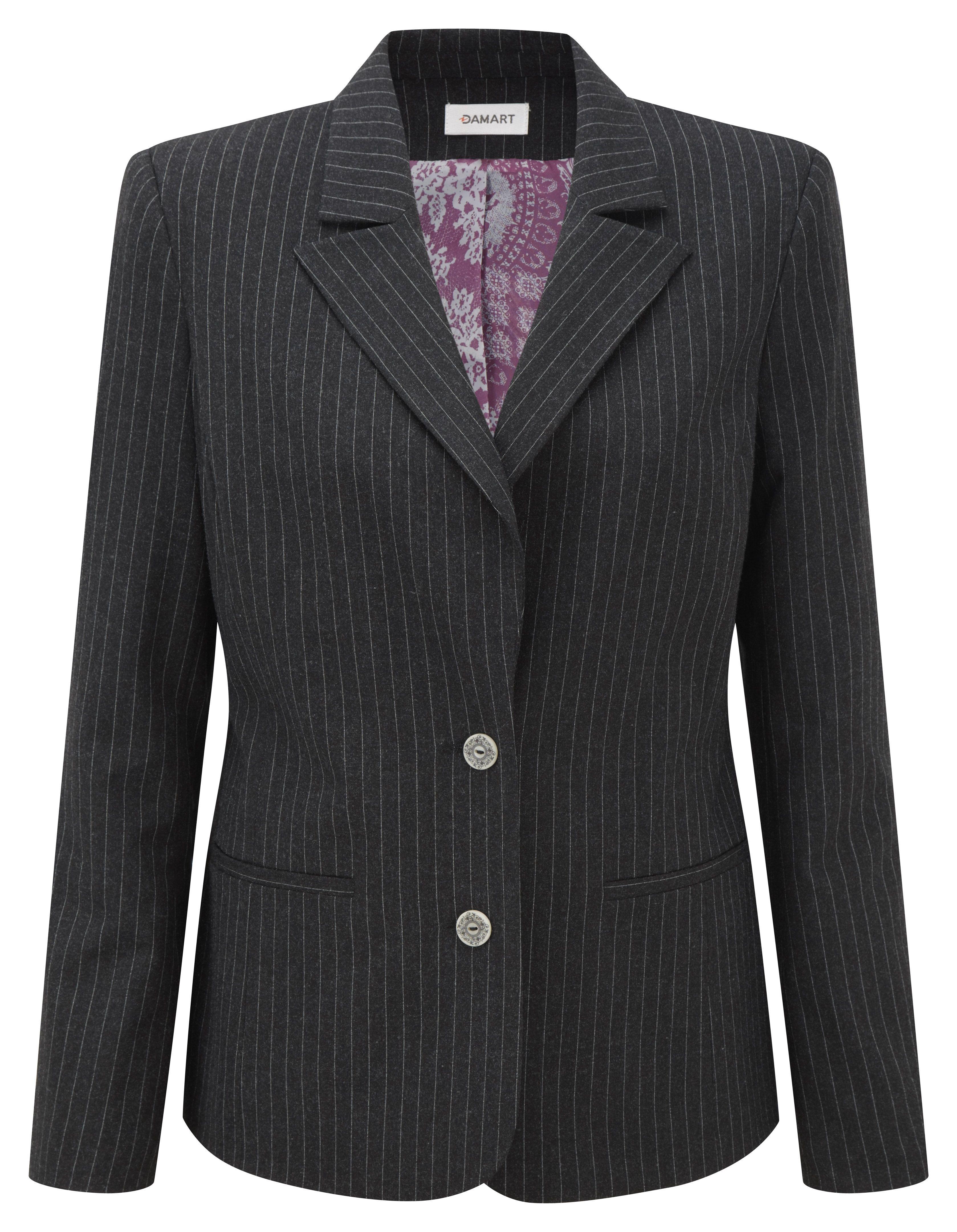 Damart Charcoal Stripe Tailored Jacket Product Code B490 Www Damart Co Uk Jackets Wool Coat Women Jackets For Women