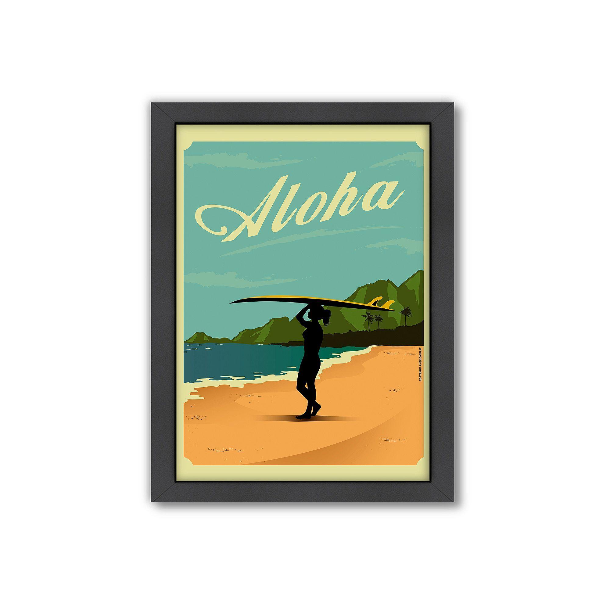 Americanflat \'\'Aloha\'\' Surf Framed Wall Art, Multicolor