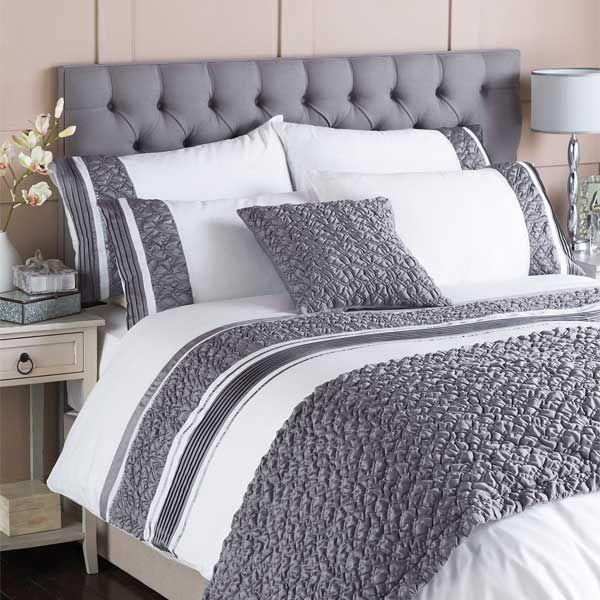 Riva Home Macy Pleated Pocket Matt Satin Bed Runner White Grey 70 X 220 Cm White Duvet Covers Gray Duvet Cover Luxury Bedding