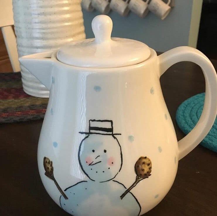 Ceramic Snowman Bell Hand Painted Like Rae Dunn