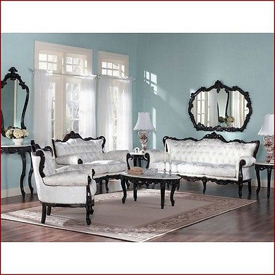 MAHOGANY FRAME FRENCH PROVINCIAL LIVING ROOM SET WITH WHITE FABRIC