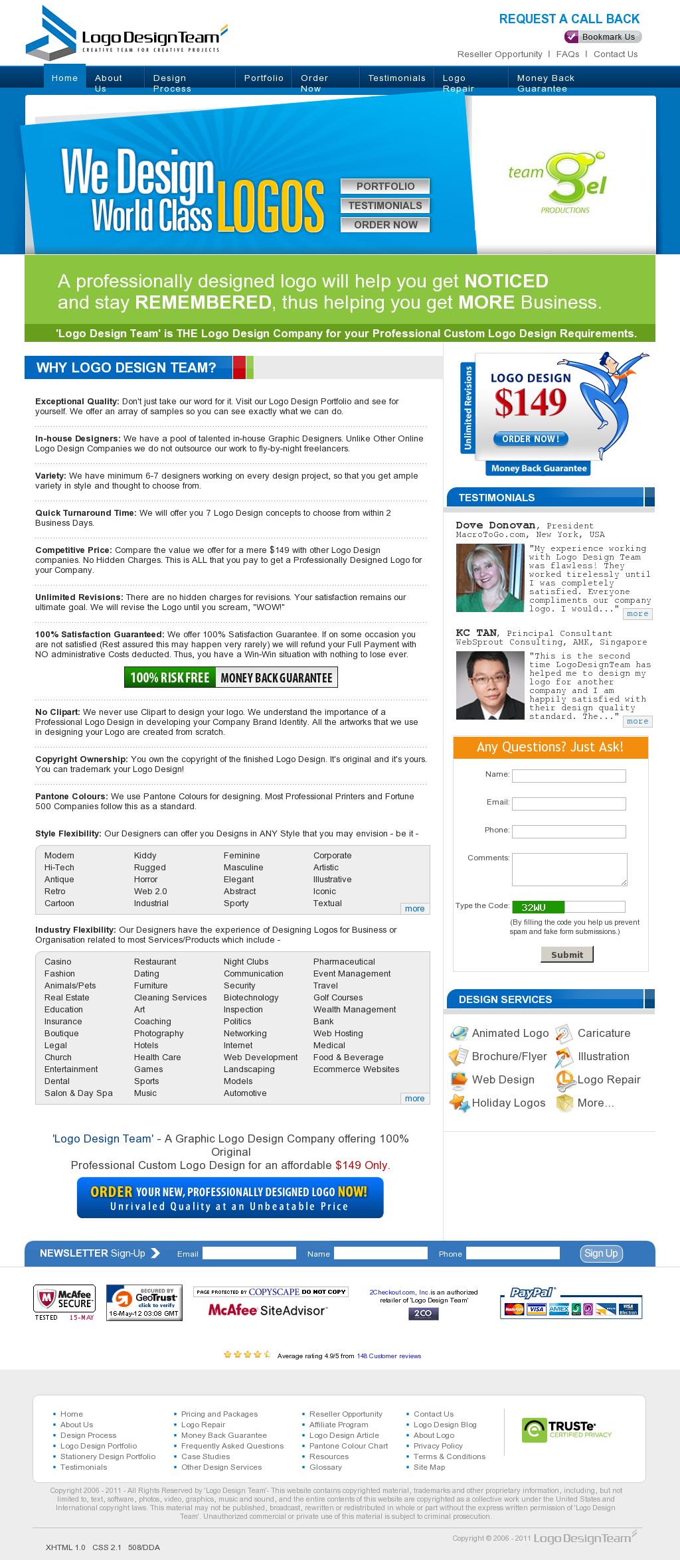 - Full length website screenshot.