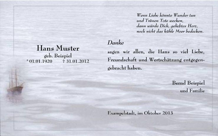 Danksagung Fur Seebestattung Meer Wellen Schiff Trauer Seebestattung Bestattung Trauerkarten Danksagung