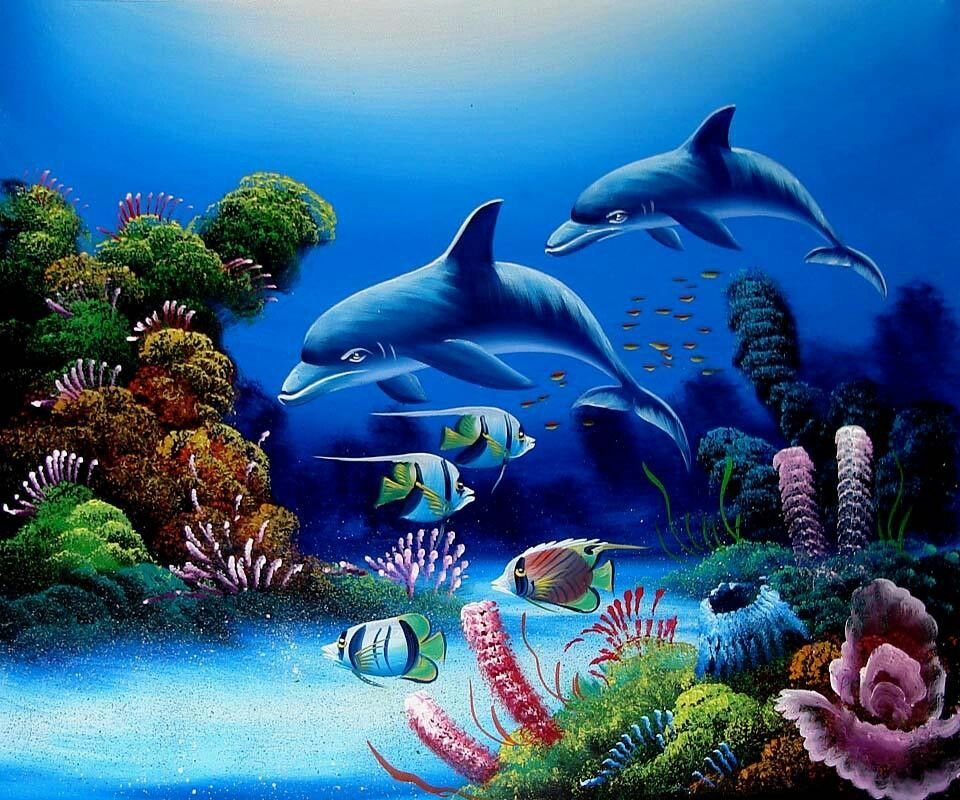 dolphins | Animals that I love | Underwater painting ...