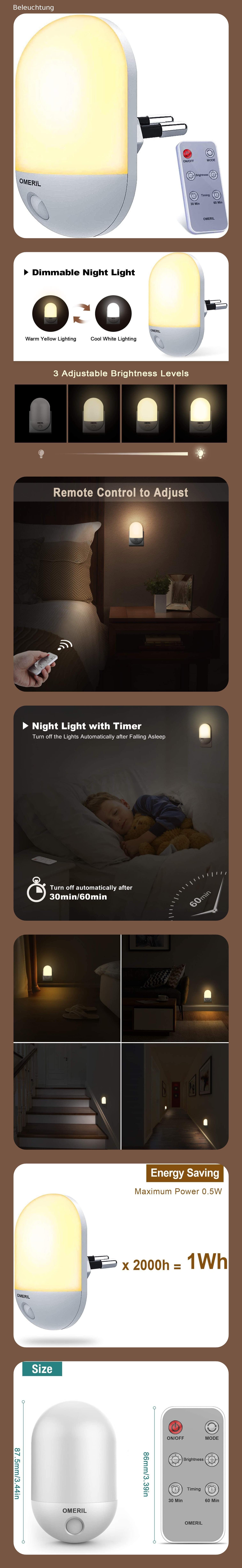 Nachtlicht Steckdose OMERIL Dimmbares Nachtlicht Baby mit