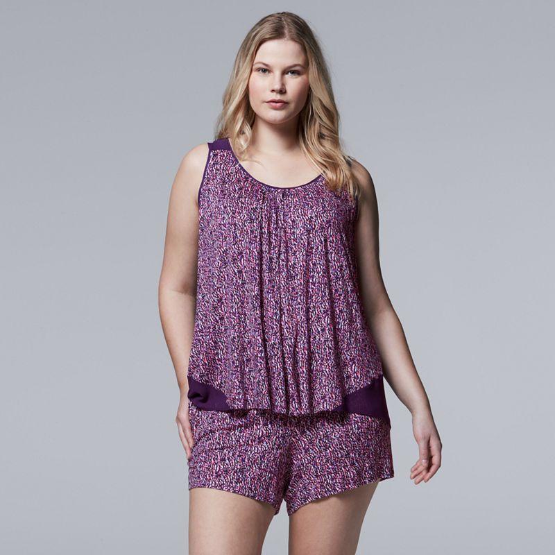Plus Size Simply Vera Vera Wang Pajamas: Spring Petals Tank & Boxer Shorts PJ Set, Women's, Size: 1XL, Med Orange