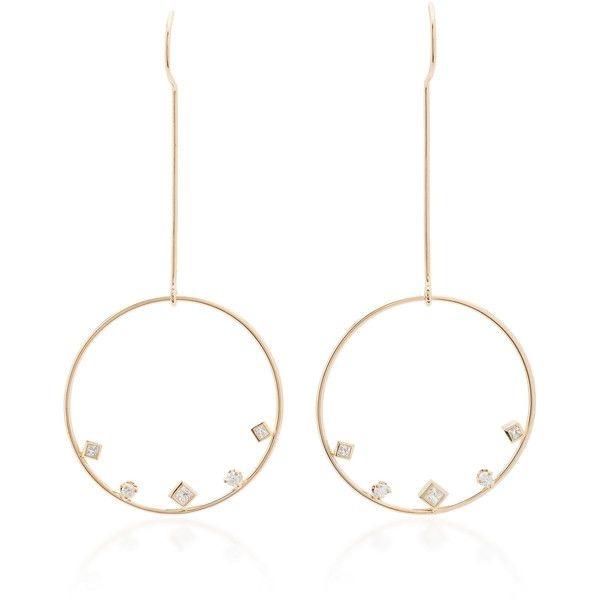 Zoë Chicco Mixed Shaped Diamond Large Circle Wire Earrings (5.125 ...