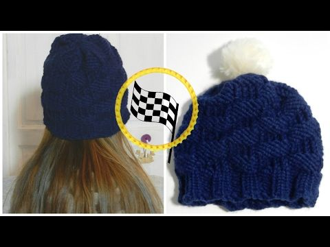 [ DIY ] Bonnet point damier au tricotin circulaire , YouTube