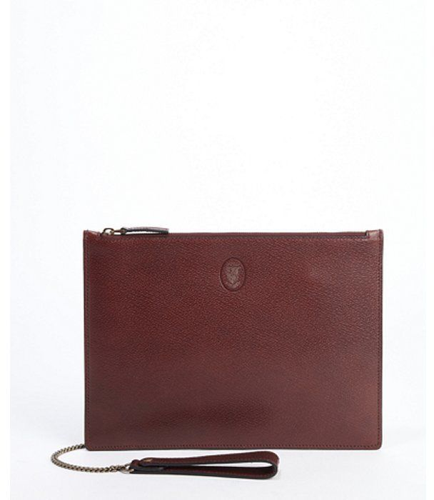 $890, Gucci Burgundy Leather Chain Strap Large Clutch | Clutches ...