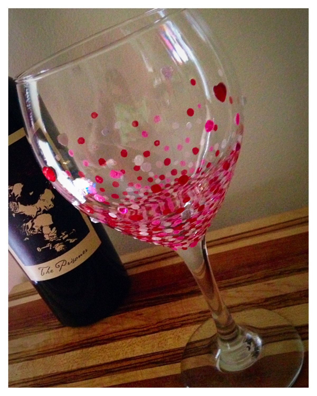 Hand Painted Wine Glass Valentine S Day Confetti Painted Wine Glass Hand Painted Wine Glass Painted Wine Glasses