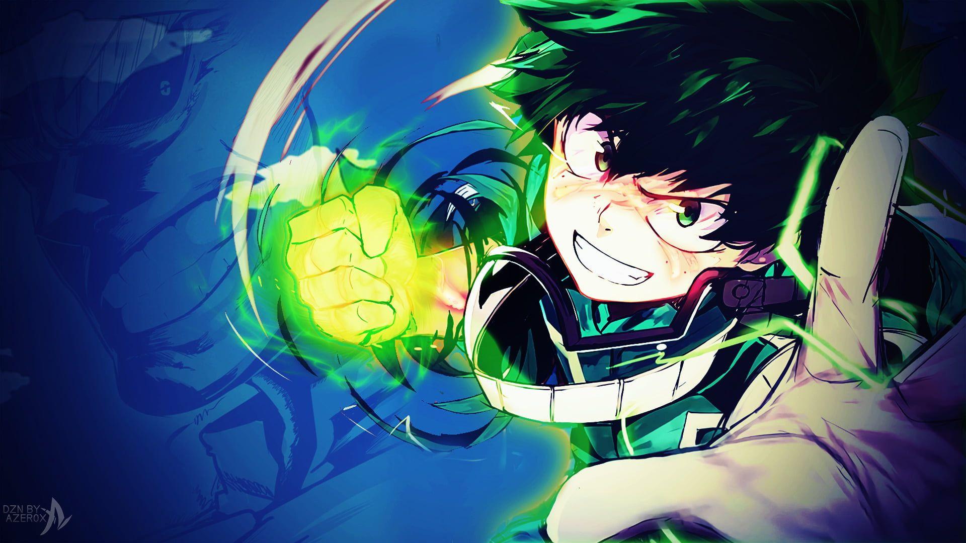Deku My Hero Academia Anime My Hero Academia Boku No Hero Academia Glove Glow Green Eyes Green Hair Izuku Anime Wallpaper Anime Background Images Wallpapers