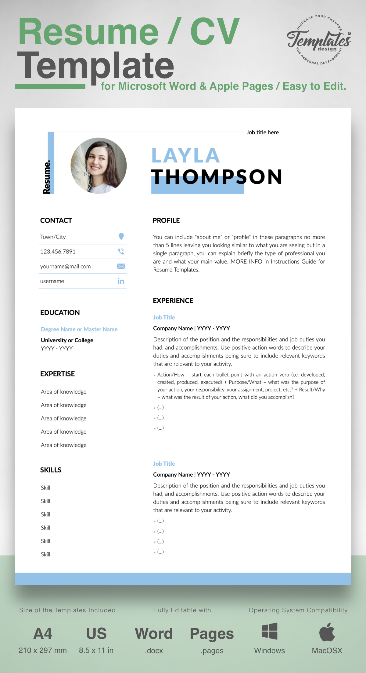 Layla Thompson Simple Resume Cv Template For Word Pages Us Letter A4 Files 1 2 3 Page Resume Version Cover Letter References Cover Letter
