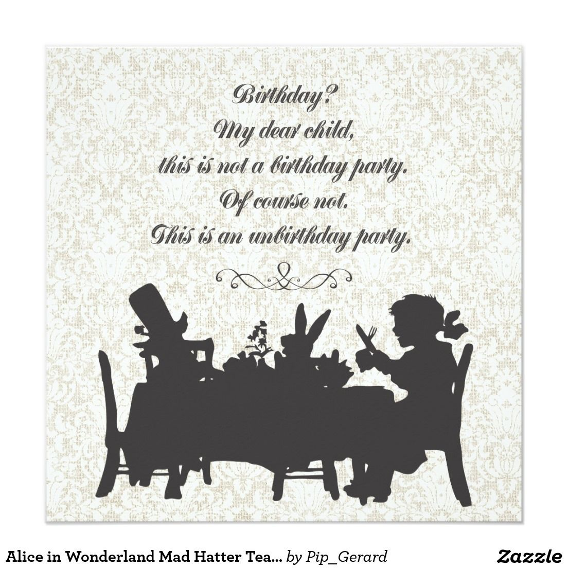 Alice in Wonderland Mad Hatter Tea Party Birthday Card | Tea party ...