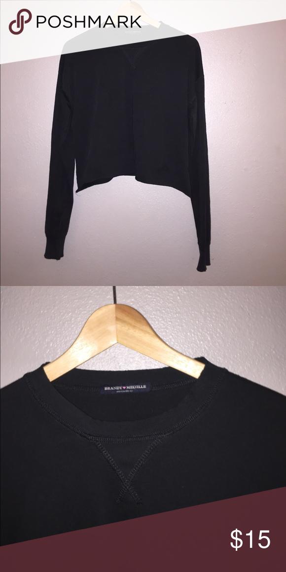 Brandy Melville Black Cropped Long Sleeve cozy cropped black long sleeve Brandy Melville Tops Crop Tops