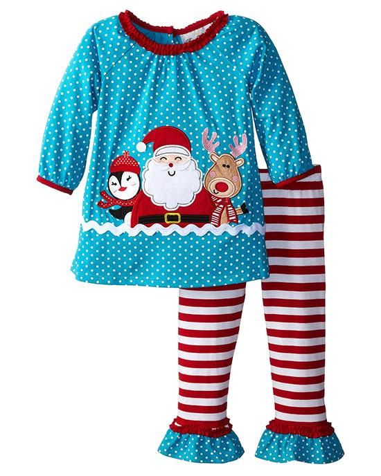 Rare Editions turquoise and red SANTA & FRIENDS top and striped leggings  2-pc outfit for little girls (sz.12m-6x) #Christmas - Rare Editions Turquoise And Red SANTA & FRIENDS Top And Striped